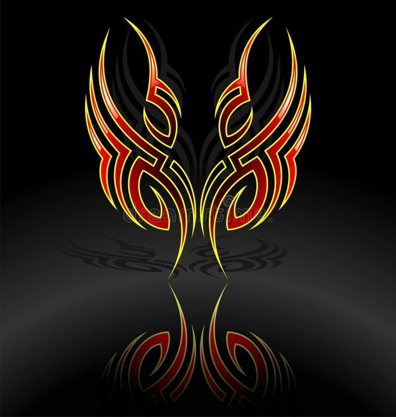 Tattoo motive. Vector tribal tattoo motive on dark background vector illustration