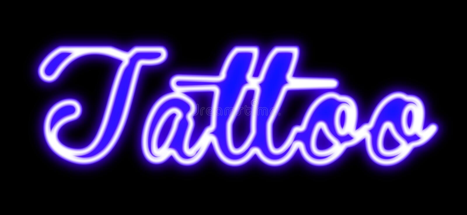 Tattoo neon sign in blue. Neon tattoo sign in shop window stock photo