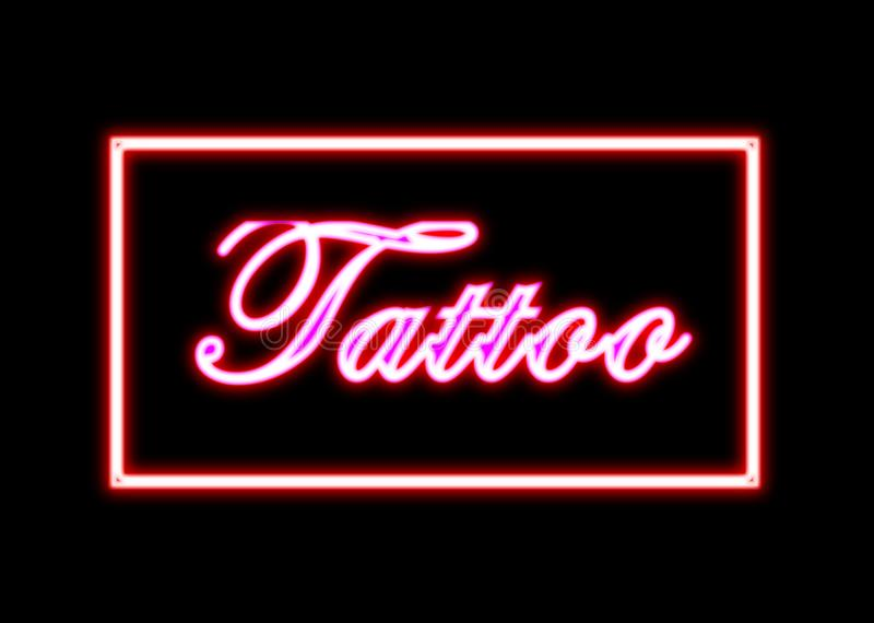 Tattoo neon sign shop. Tattoo shop neon sign in red on black background stock images