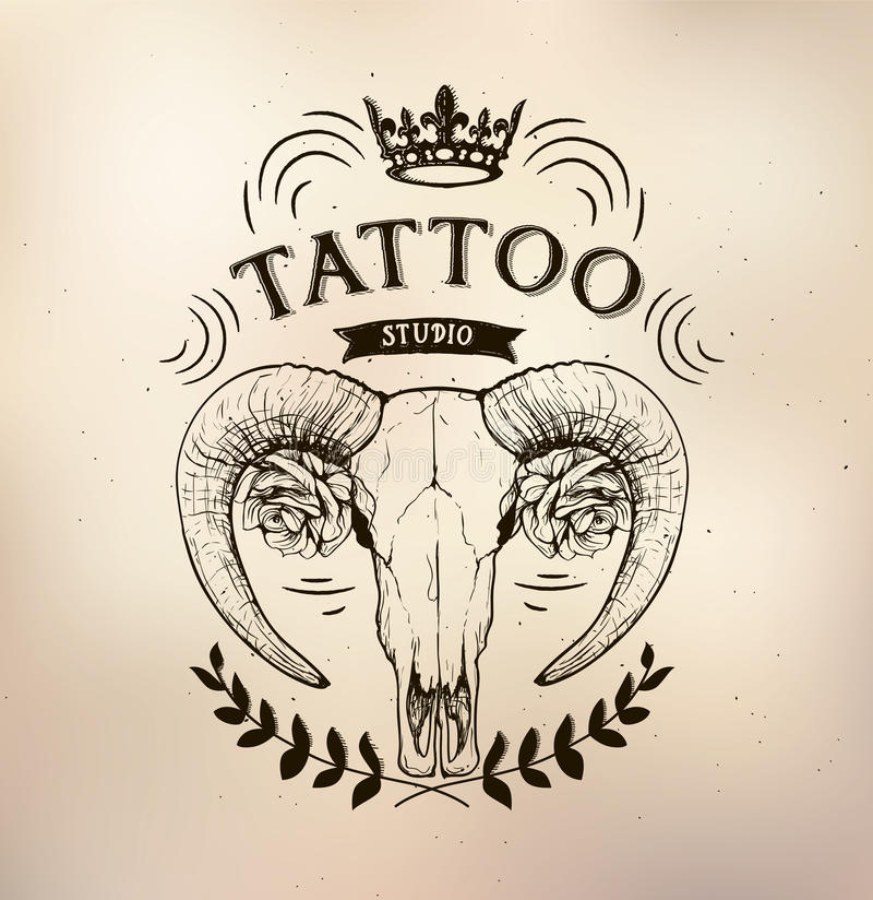 Tattoo Old School Studio Skull Sheep Stock Vector - Illustration of ...