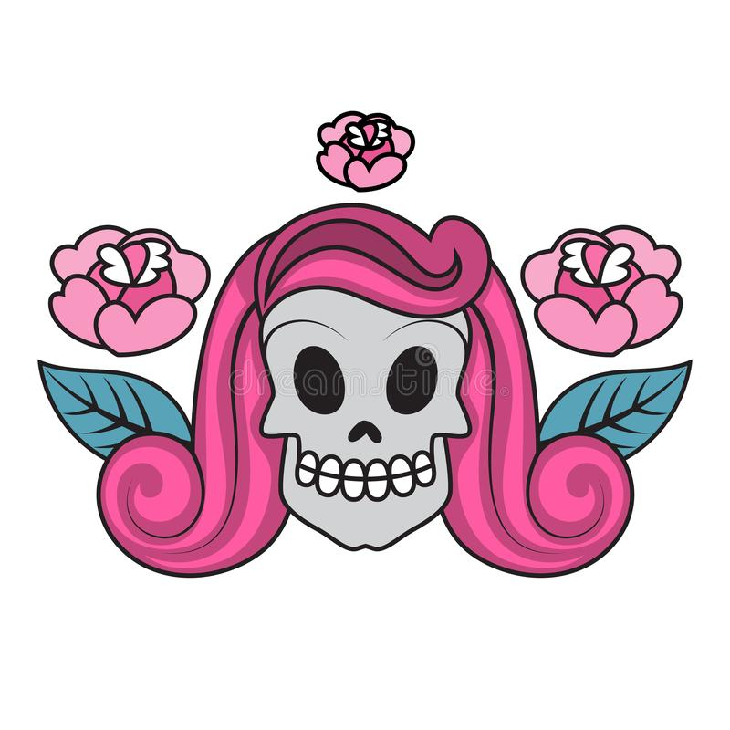 Tattoo in old school style. Vintage retro skull royalty free illustration