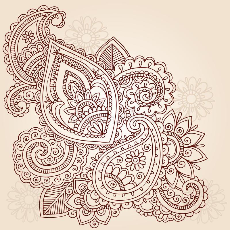 tattoo paisley mehndi хны doodle конструкции иллюстрация штока