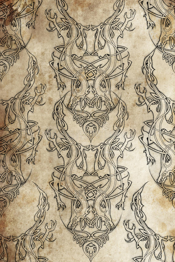Free Tattoo Pattern With Celtic Fret Royalty Free Stock Images - 23922689