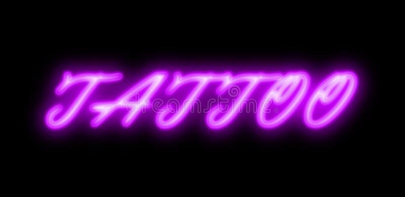 Tattoo purple neon sign stock photos