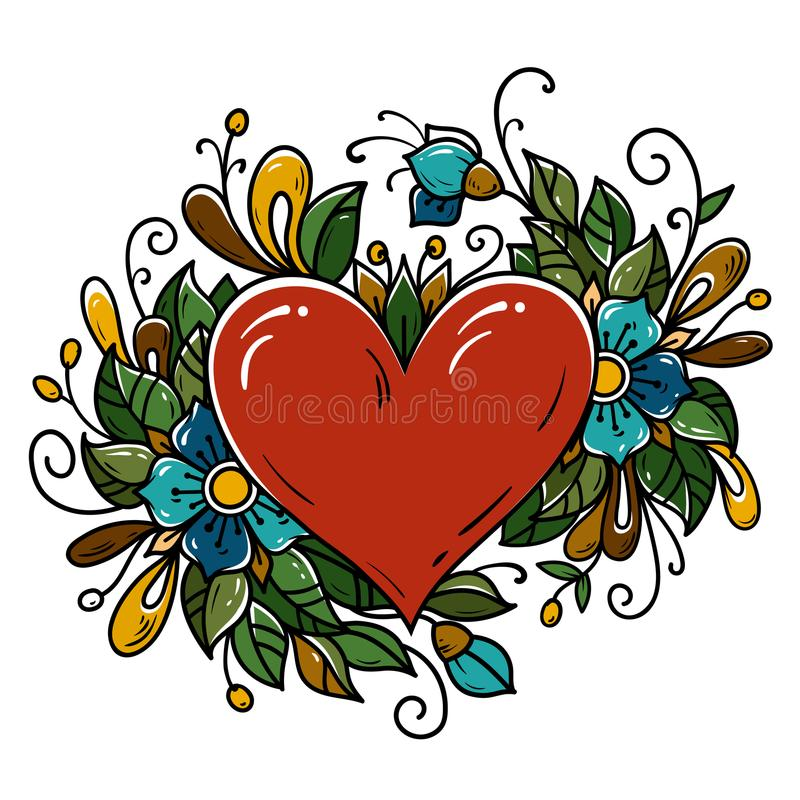 Tattoo red heart decorated ribbon, blue flowers, leaves, curls. Holiday illustration for Valentines Day. Old school vector illustration