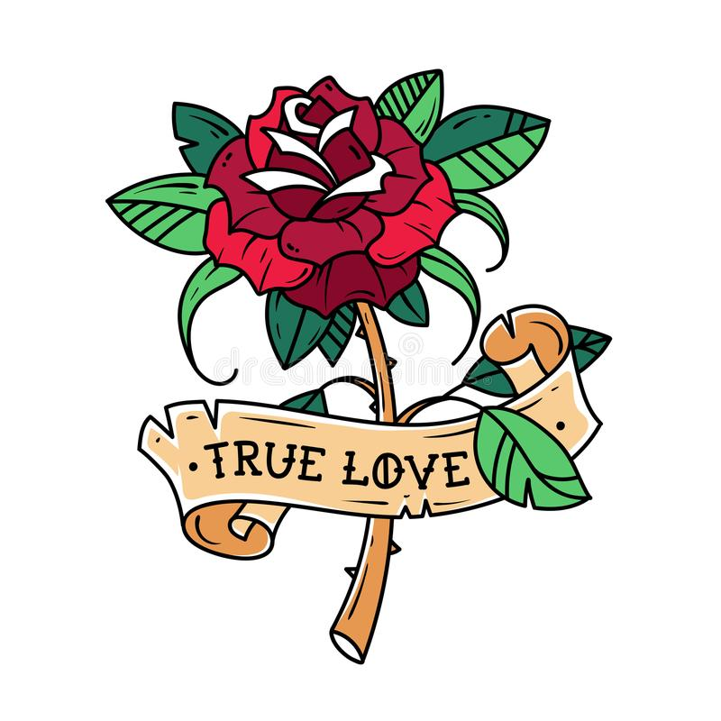 Tattoo Red Rose With Ribbon True Love Stock Vector Illustration