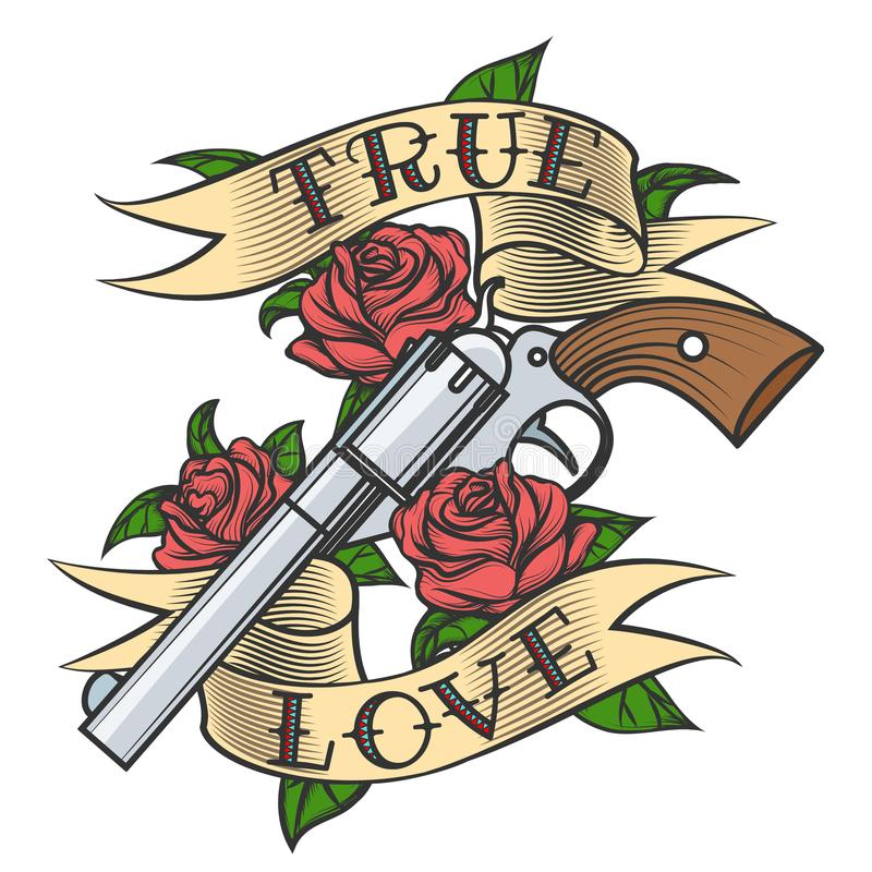 Tattoo with Revolver and Roses. Tattoo Revolver and Rose flowers with love banner. Vector illustration royalty free illustration