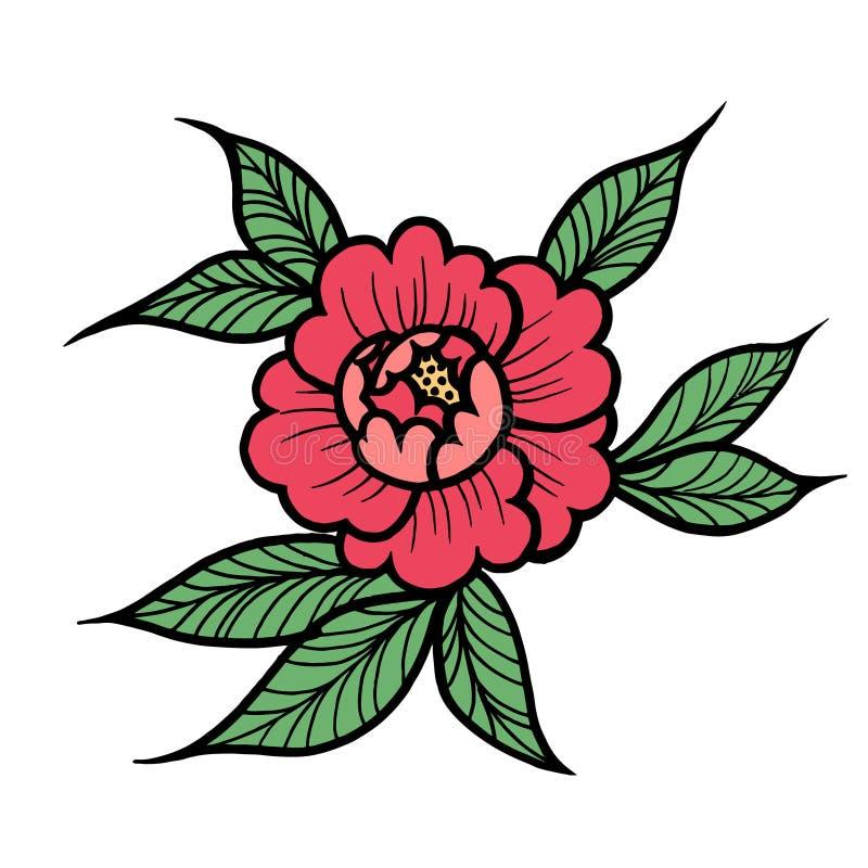 Tattoo Rose flower. Vector illustration art Isolated vector. Tattoo Rose flower.Tattoo, mystic symbol. Boho print, poster, t-shirt. textiles. Vector illustration stock illustration