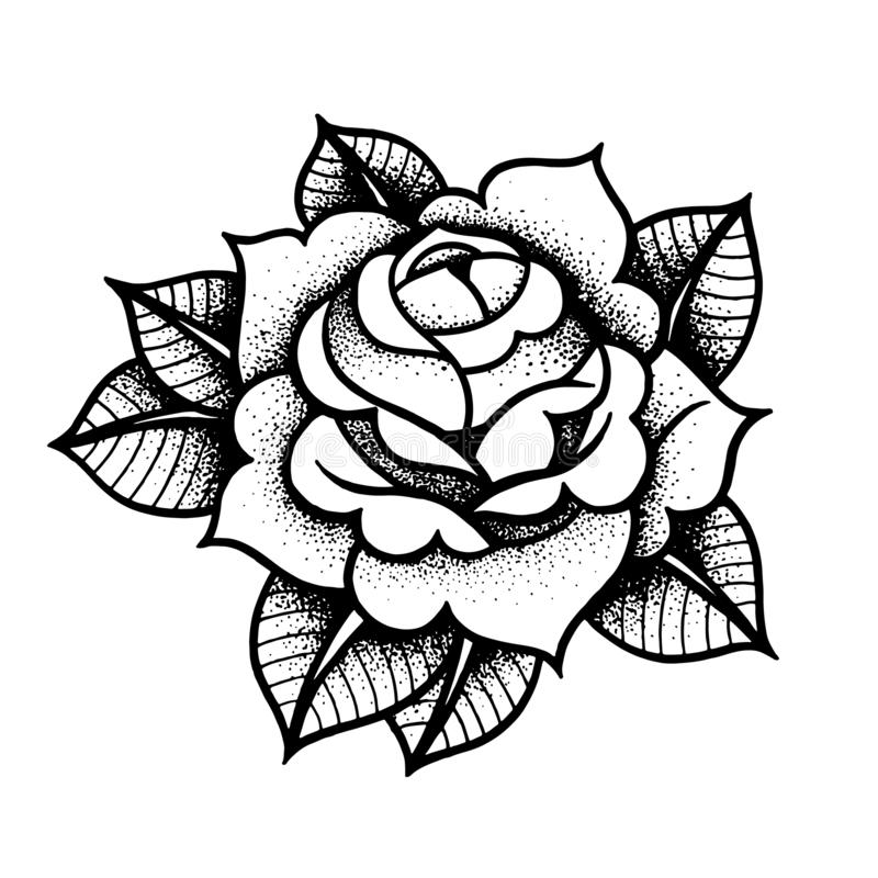 Tattoo Rose flower. Vector illustration art Isolated vector stock illustration