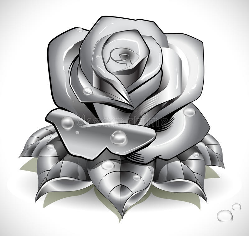 Tattoo Rose with leafs and water drops. Created with radial, linear and gradient meshes. Opacity used in this picture only for shadows and water drops royalty free illustration
