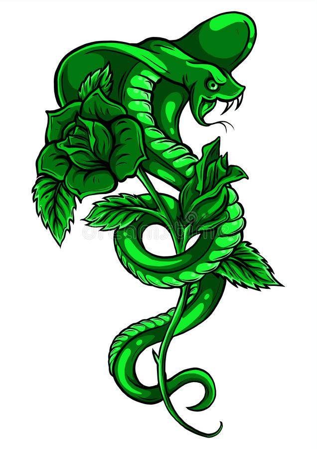 Tattoo with rose and snake. Traditional black dot style ink. Roses Isolated vector illustration. Traditional Tattoo Old royalty free illustration