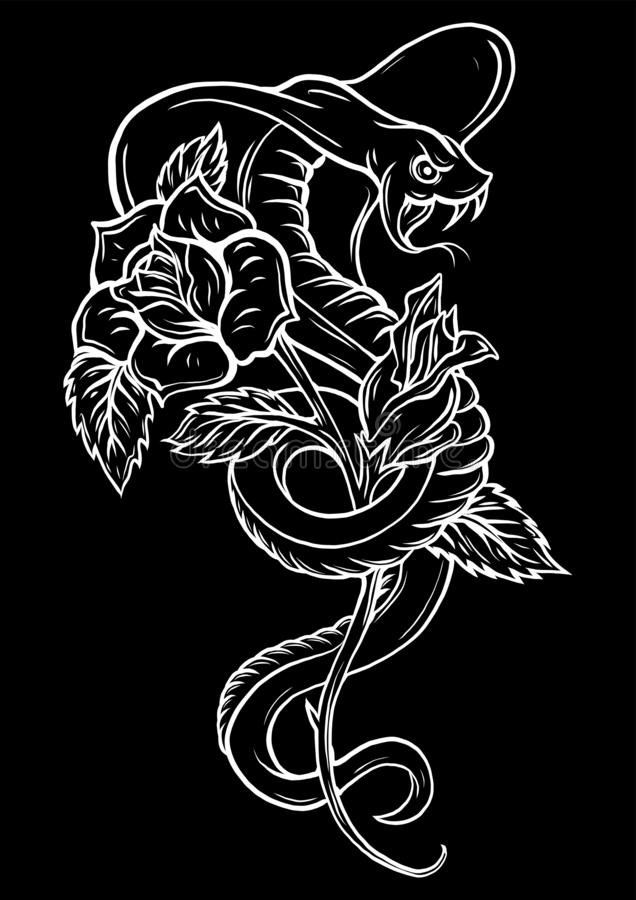 Tattoo with rose and snake. Traditional black dot style ink. Roses Isolated vector illustration. Traditional Tattoo Old stock illustration
