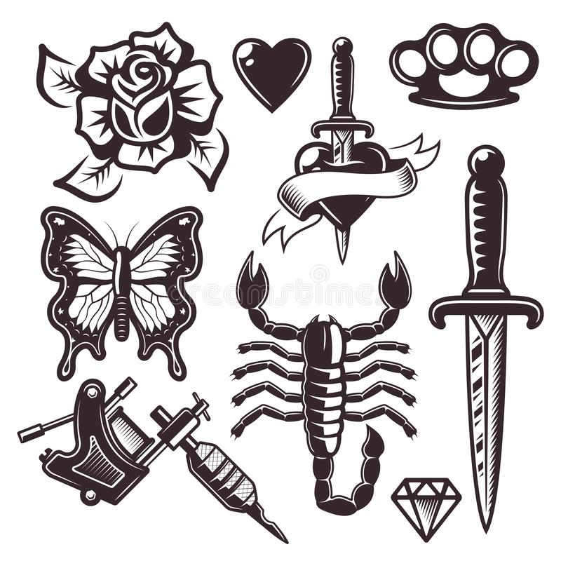 Free Tattoo Set Of Vector Objects And Design Elements Stock Photo - 115796050