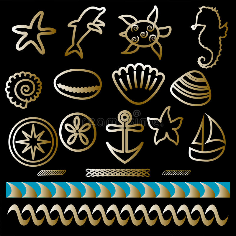 Tattoo set Outline nautical icons Hand drawn sea animals and nautical symbols. Waves, anchor, compass, boat, sand dollar, shells, seahorse, turtle, dolphin vector illustration