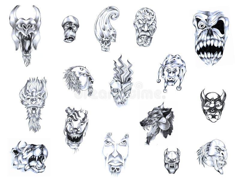 Download Tattoo set V. stock illustration. Image of pencil, wolf - 7137381