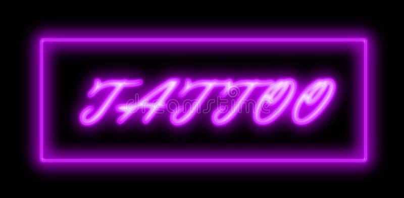 Tattoo shop blue neon sign stock photo