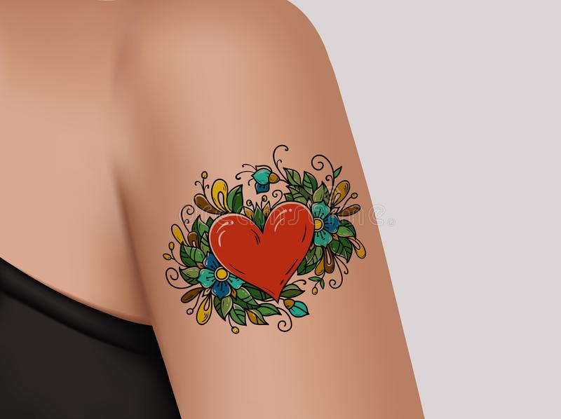 Tattoo on shoulder. Heart decorated with flowers stock illustration
