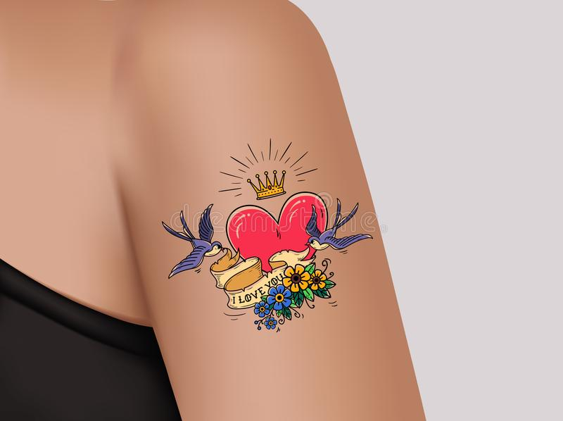 Tattoo on shoulder.Pink heart and gold crown.Two swallows fly and hold ribbon decorated with flowers.Template for banner stock illustration