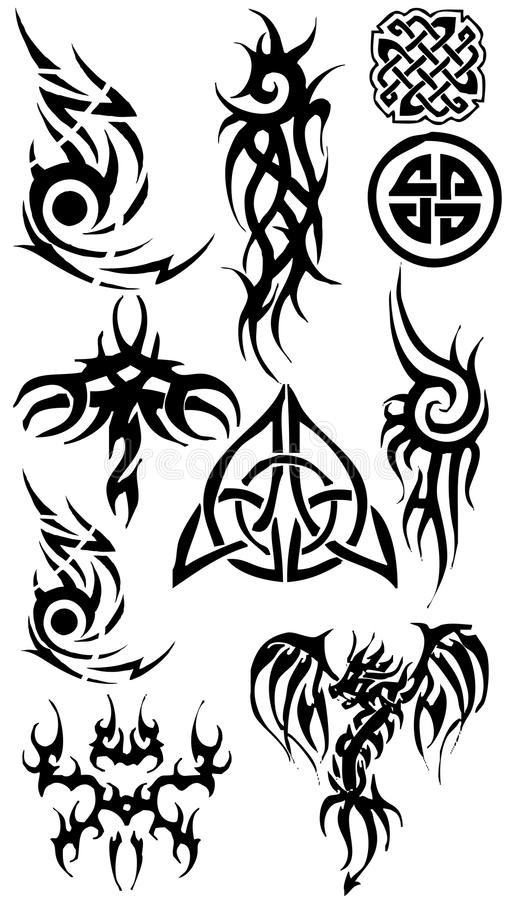 Download Tattoo Silhouette Collection Stock Illustration - Illustration of black, background: 17351180