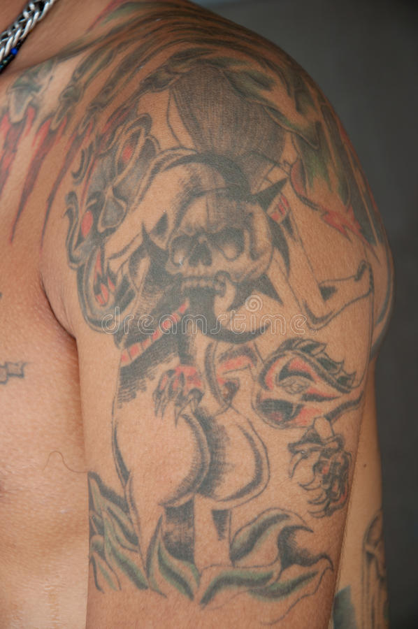 Tattoo on skin. A picture of beautiful tattoo on skin royalty free stock photo