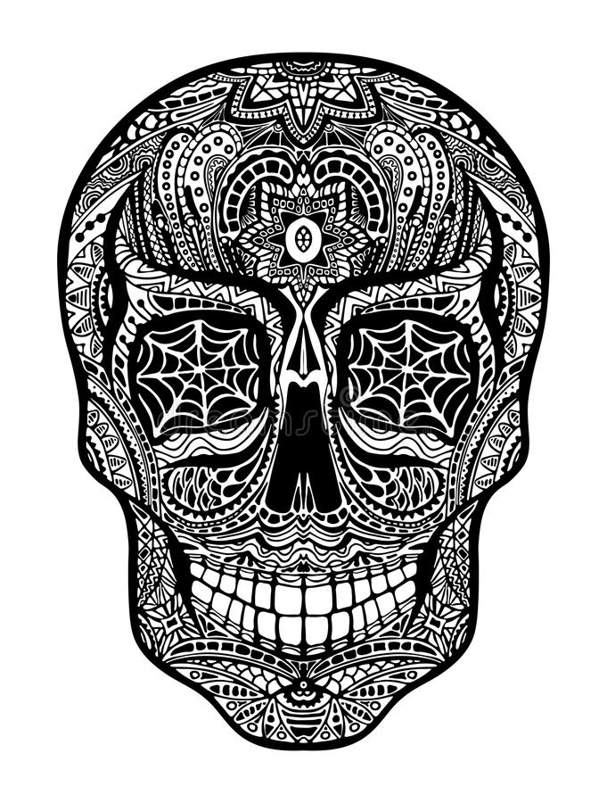 Tattoo skull, black and white illustration on white background stock illustration