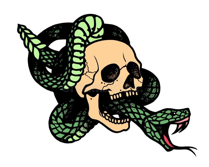 Tattoo with skull and snake.Isolated vector illustration. Tattoo with skull and snake. Traditional black dot style ink. Isolated vector illustration royalty free illustration