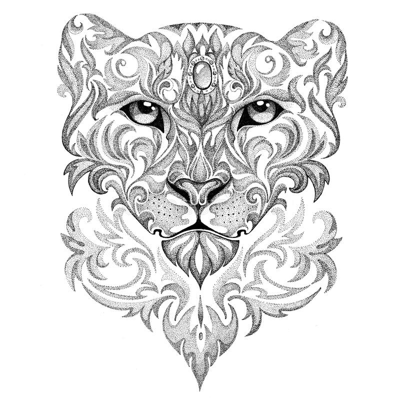 Free Tattoo Snow Leopard, Panther, Cat, With Patterns And Ornaments Stock Photos - 51612783