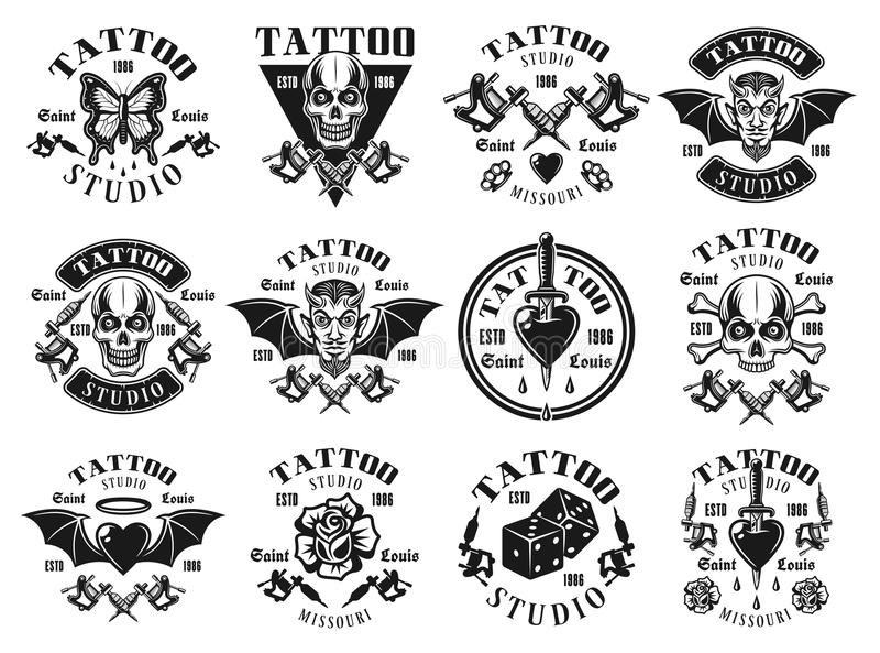 Tattoo studio big set of vector vintage emblems royalty free illustration