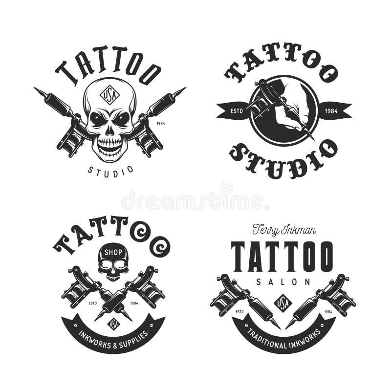Tattoo studio emblems set. Vector vintage illustration. royalty free illustration