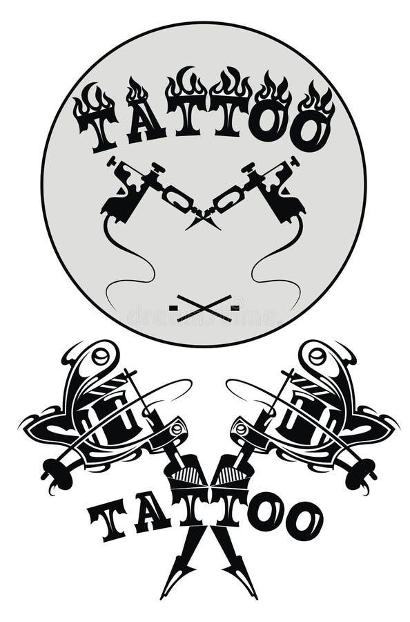 Tattoo studio emblems with tattoo machine vector illustration