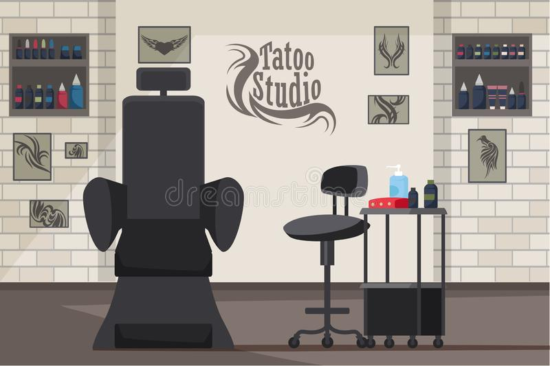 Tattoo studio interior flat vector illustration vector illustration