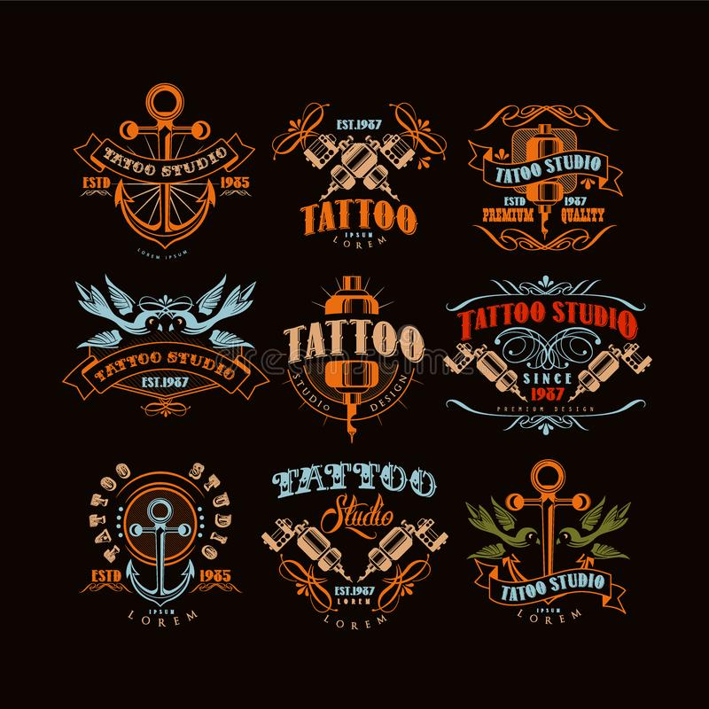 Tattoo studio logo design set, retro styled emblems with professional equipment and tattoo elements vector Illustrations stock illustration
