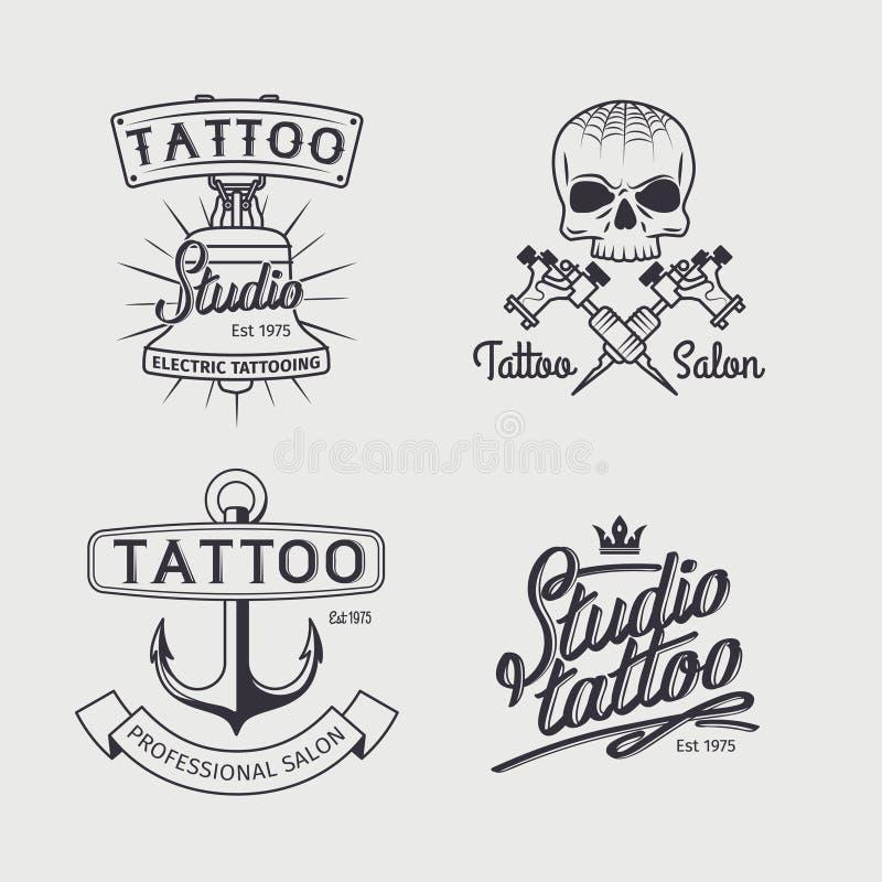 Tattoo studio logo templates vector illustration