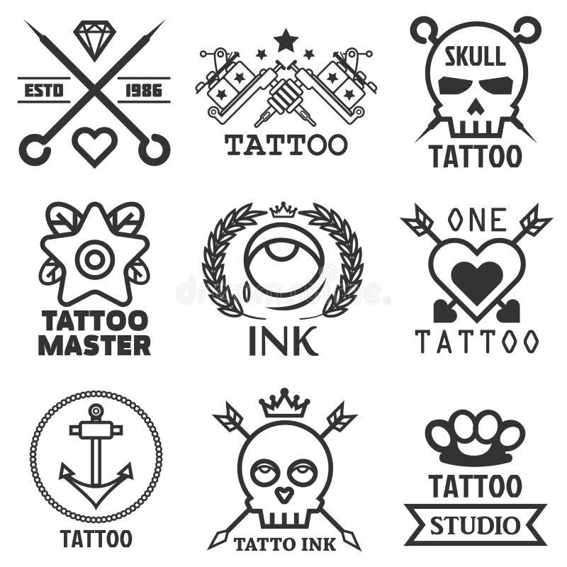 Tattoo studio salon vector icon templates skull, heart, anchor stock illustration