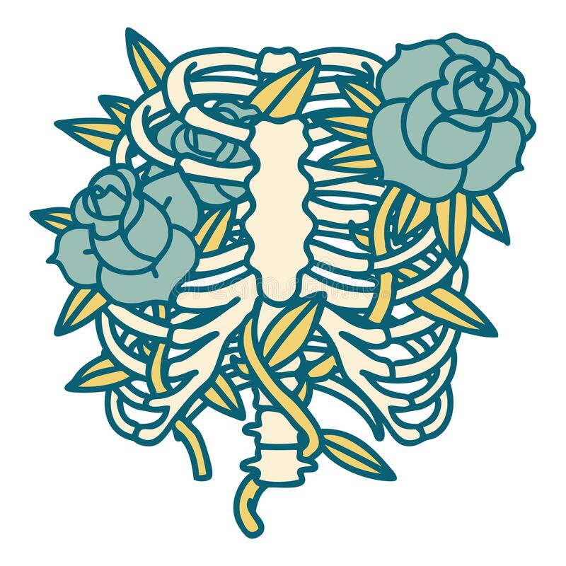 Tattoo style icon of a rib cage and flowers. Iconic tattoo style image of a rib cage and flowers royalty free illustration