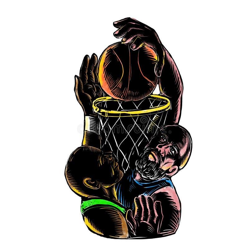 Basketball Player Dunking Blocking Ball Tattoo stock illustration