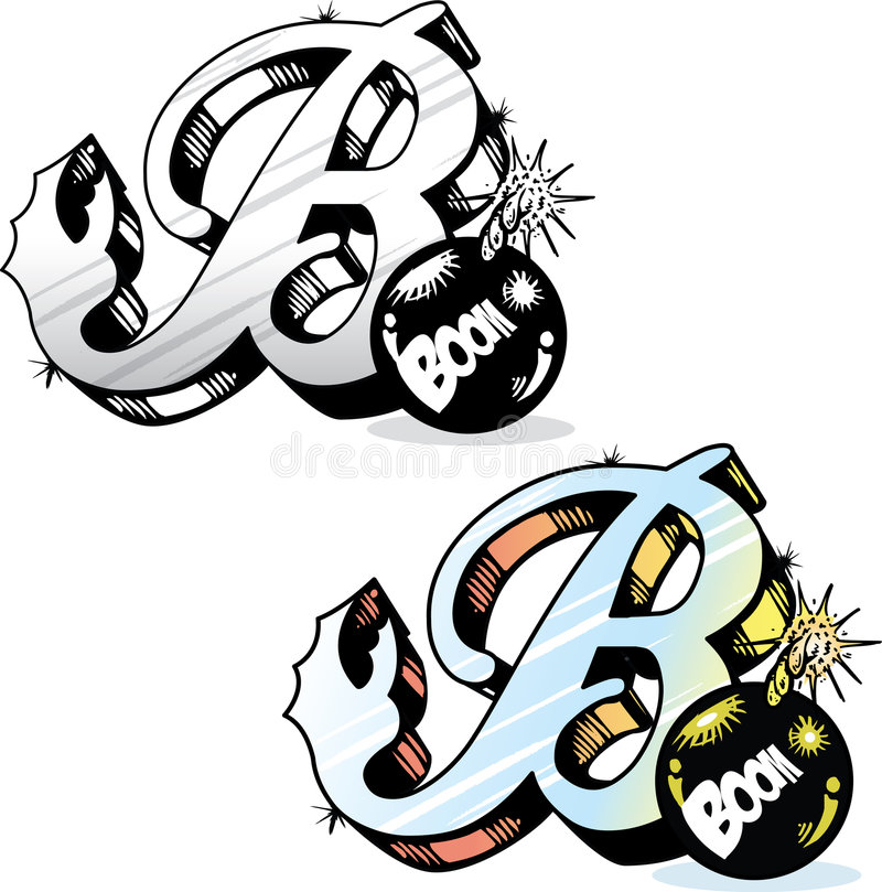 Tattoo style letter B stock image