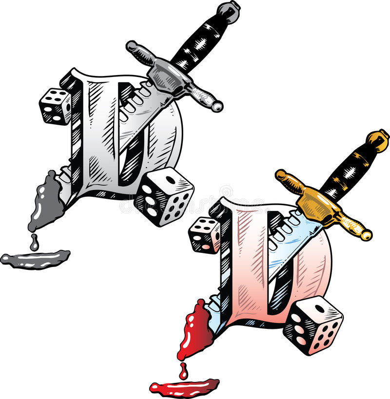 Tattoo style letter D royalty free stock photos