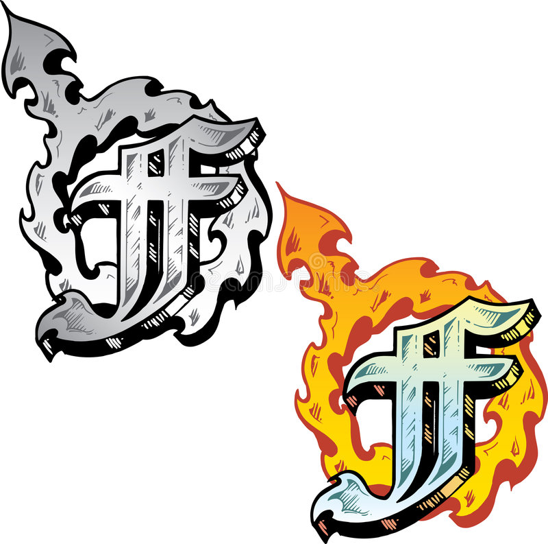 Tattoo style letter F stock image