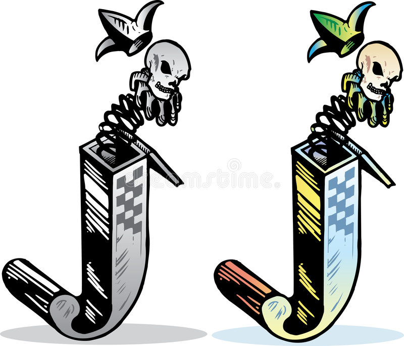 Tattoo style letter J stock image