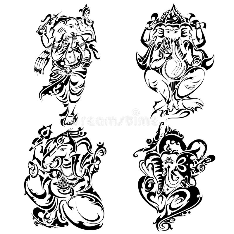 Tattoo style Lord Ganesha vector illustration