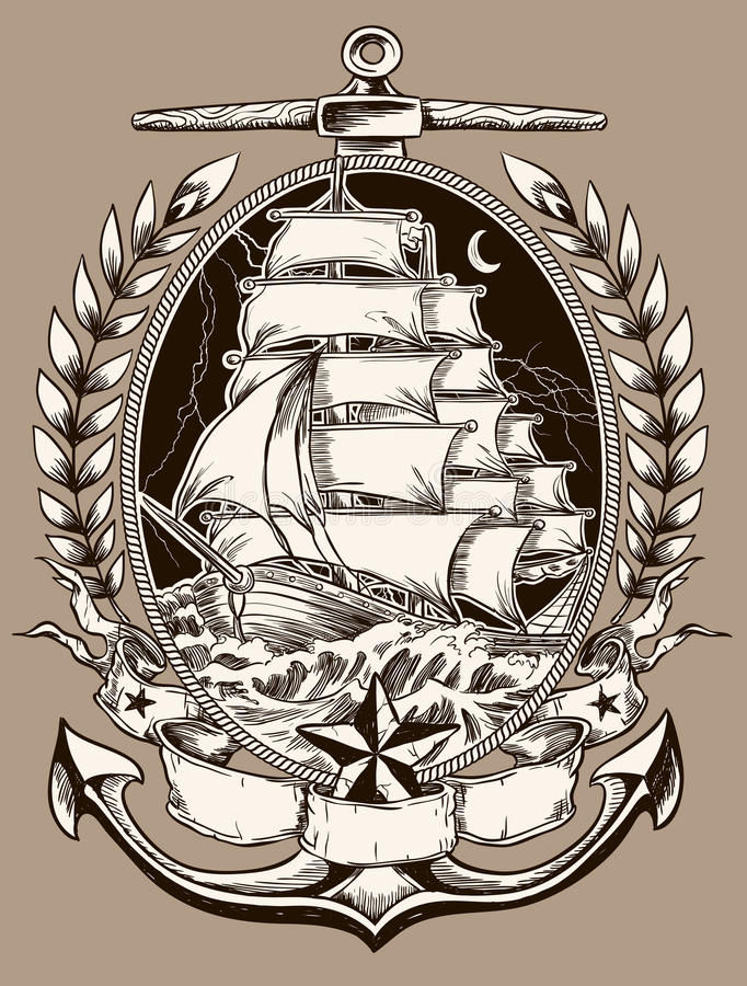 Free Tattoo Style Pirate Ship In Crest Royalty Free Stock Photos - 33175188