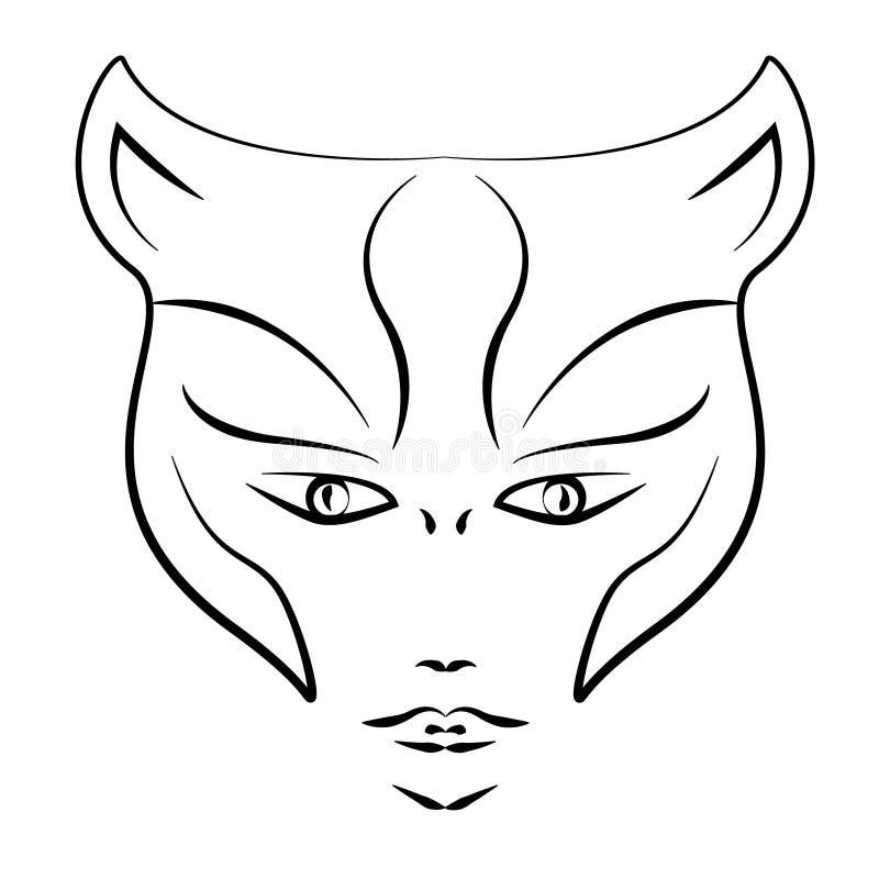 Tattoo style , Woman Tiger mask stock illustration
