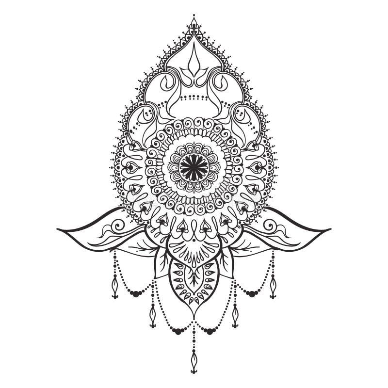Tattoo Template In Mehndi Style Stock Vector  Illustration Of India