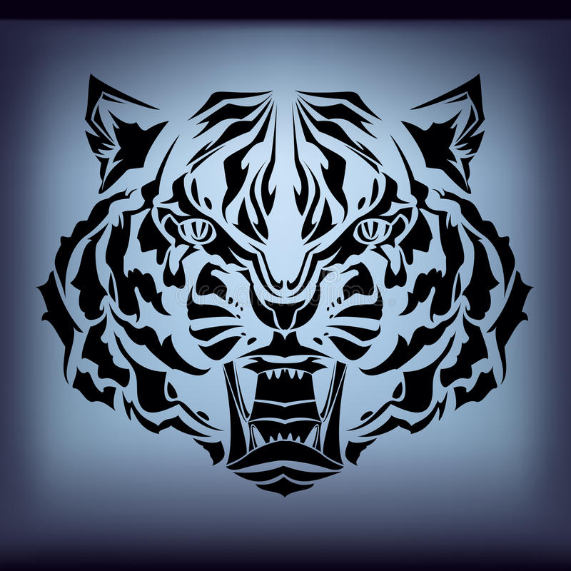 Download Tattoo tiger stock vector. Image of black, background - 18877489