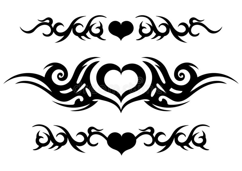 Tattoo tribal design, ornate celtic pattern with heart, tattoo strip around the arm or leg, abstract print, ornament sketch, vecto. R illustration, black and stock illustration