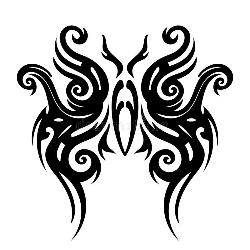 Tattoo tribal design, stylized butterflies, abstract print, celtic pattern, ornament sketch, vector illustration, black and white. Drawing, element for vector illustration