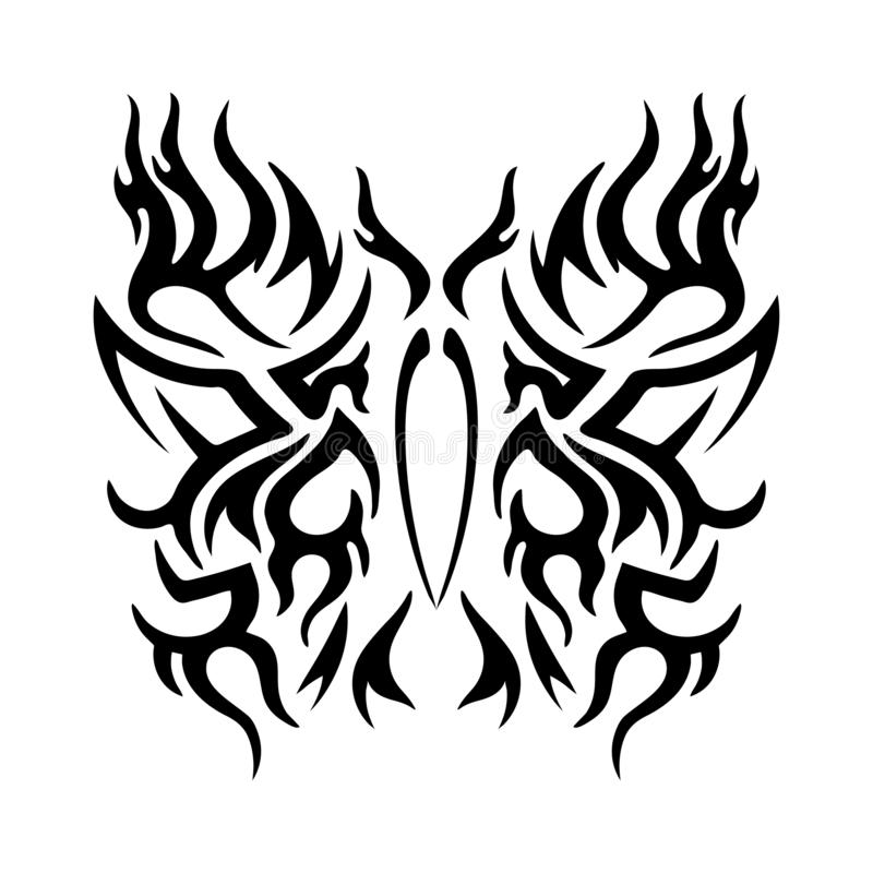 Tattoo tribal design, stylized butterflies, abstract print, celtic pattern, ornament sketch, vector illustration, black and white. Drawing, element for stock illustration