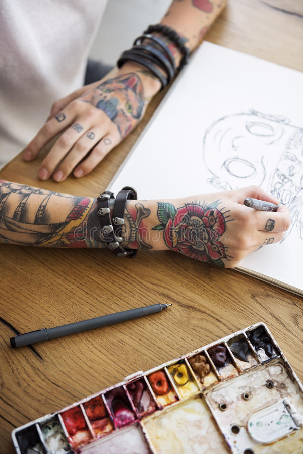 Tattoo Woman Creative Ideas Design Inspiration Concept royalty free stock photo