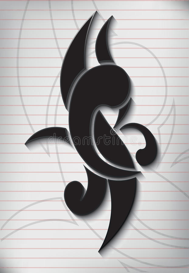 Tattoo writing on paper lined note. royalty free illustration